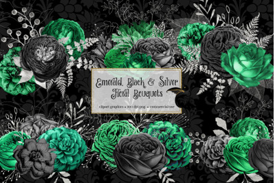 Emerald Black and Silver Floral Bouquets
