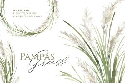 Watercolor Pampas Grass Greenery Bouquets Frames Wreaths