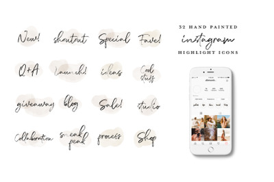 handwritten Instagram Highlight Icons
