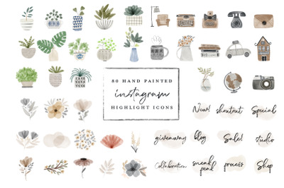 80 Instagram Highlight Icon bundle - watercolor hand painted