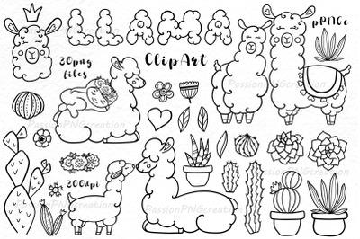 Doodle Llama Clipart, digital llama clip art