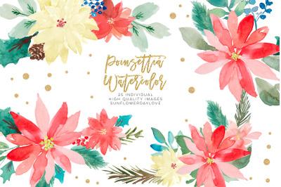 Poinsettia clipart, Christmas Wedding Invitation clipart