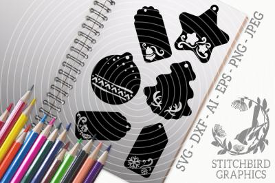 Christmas Tags SVG, Silhouette Studio, Cricut, Dxf, AI, Png