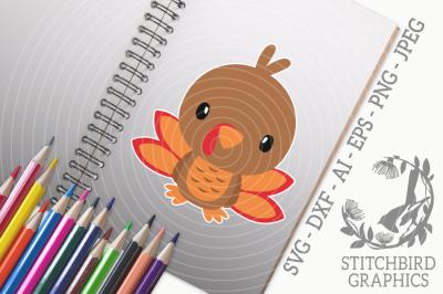 Cute Baby Turkey 2 SVG, Silhouette Studio, Cricut, Eps, Dxf, AI, PNG