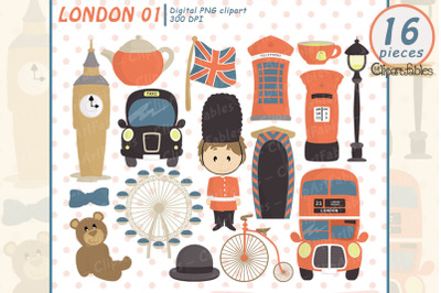 Cute London clipart, Europe clip art, travel art - instant