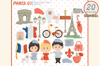 PARIS clipart, Cute Eiffel tower, Travel clip art, France