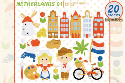 NETHERLANDS clip art, European travel party, cute Dutch art