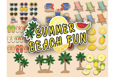Summer Beach Fun Tropical Clipart and Stickers huge collection