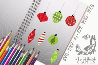 Christmas Baubles SVG, Silhouette Studio, Cricut, Eps, Dxf