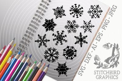Christmas Snowflakes SVG, Silhouette Studio, Cricut, Eps