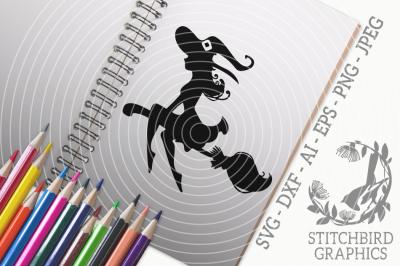 Halloween Witch Elegant SVG, Silhouette Studio, Cricut, Eps, Dxf, AI,