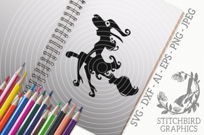 Halloween Witch Curly SVG, Silhouette Studio, Cricut, Eps, Dxf, AI,