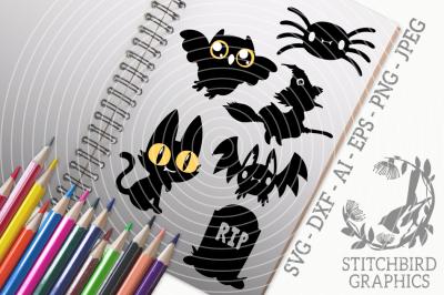 Halloween Spooky Characters SVG, Silhouette Studio, Cricut