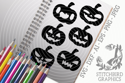 Halloween Pumpkins SVG, Silhouette Studio, Cricut, Eps, Dxf