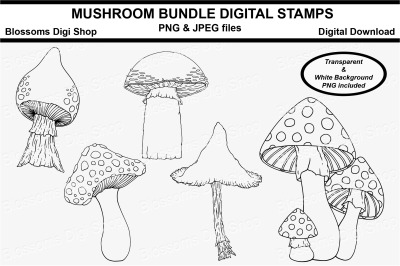 Mushroom Bundle Digital Stamps