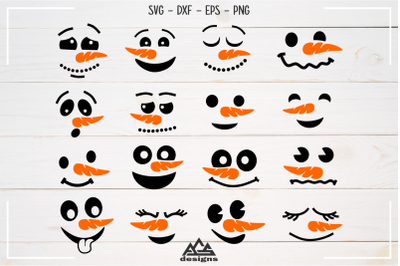 Winter Snowman Face Expressions Svg Design