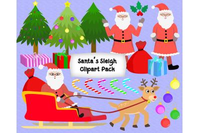 Santa Sleigh Clipart Pack