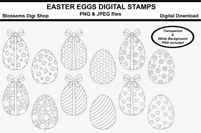 Easter Eggs Digital Stamps