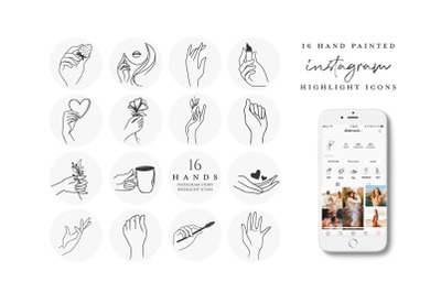 instagram highlight icons hands