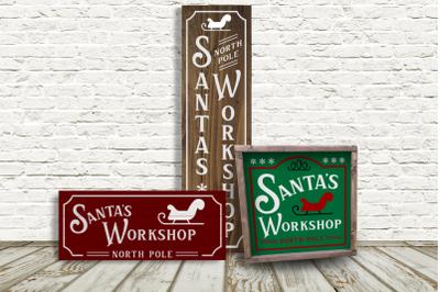Santa's Workshop Christmas Porch Sign Trio | SVG | PNG | DXF