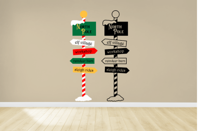 Christmas North Pole Sign Post | SVG | PNG | DXF