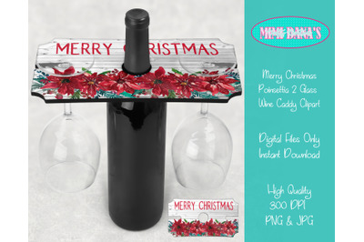 Merry Christmas Poinsettia 2 Glass Wine Caddy Holder Tray Clipart