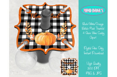 Buffalo Plaid Thankful 4 Glass Wine Caddy Holder Tray Clipart