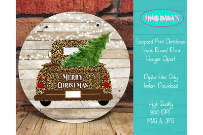 Leopard Print Christmas Truck Clipart for Round Door Hanger
