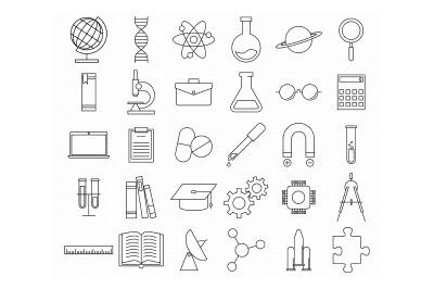 science, education, biology, medicine, classroom, school icons