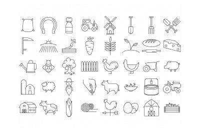 farm icons and symbols, tractor, crops, windmill, shovel horseshoe