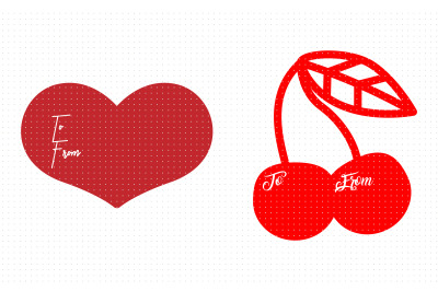 heart and cherry gift tags svg, dxf, vector, eps, clipart, cricut, dow