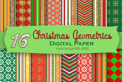 Christmas Geometric Digital Paper