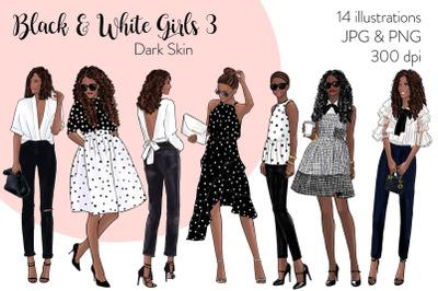 Watercolor Fashion Clipart - Black & White Girls 3 - Dark Skin