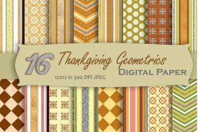 Thanksgiving Geometric Digital Paper