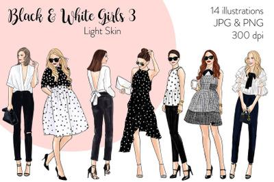 Watercolor Fashion Clipart - Black & White Girls 3 - Light Skin