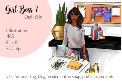 Watercolor FashionIllustration -Girl boss 7 - Dark Skin