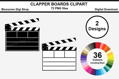 Clapper Board Clipart, multi colours, 72 PNG files