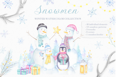 Snowmen Watercolor Collection of cliparts and patterns