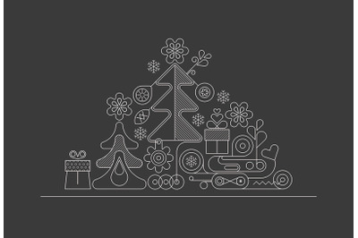Christmas Tree line art design