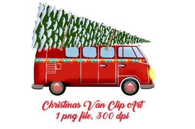 Christmas Van with Tree Clip Art