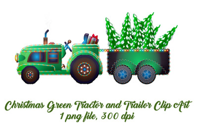 Christmas Tractor with Trees Clip Art