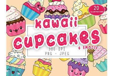 Cute Kawaii Cupcakes Set Collection + Cupcakes Kawaii Emojis