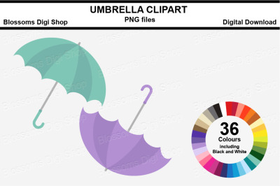 Umbrella Sticker Clipart, 36 files, multi colours