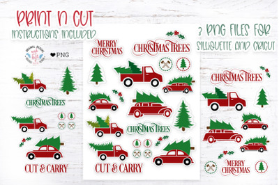 Christmas Farm Red Truck Stickers