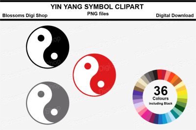 Yin Yang Symbol Sticker Clipart, 36 files, multi colours