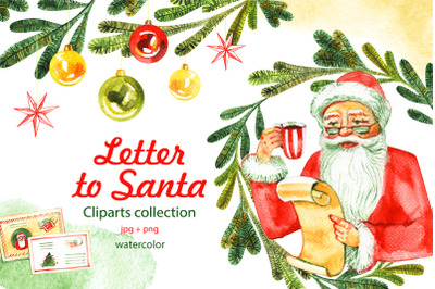 Letter to Santa. Watercolor cliparts