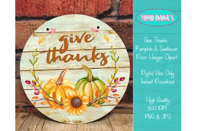 Give Thanks Pumpkin and Sunflower Round Door Hanger Clipart