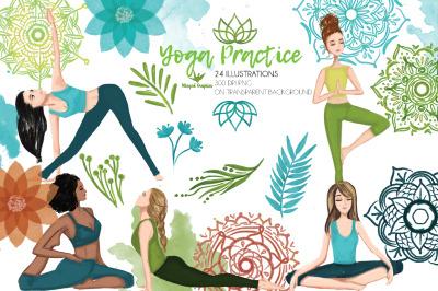 Yoga practice: set of 24 illustrations, 300 DPI PNG on transparent bac