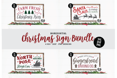 Horizontal Christmas Sign SVG Bundle, DXF PNG