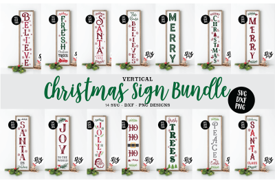 Christmas Vertical Sign Bundle SVG DXF PNG Farmhouse Style
